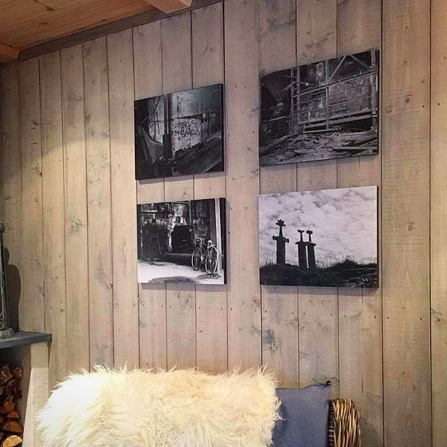 """Four images from """"ThirthyTwo ways to shoot a mountain"""" my last exhibition made it on to the wall of this relaxing cozy environment All images are unique and printed only ONCE per negative. #thirtytwoways #exhibition #darkroomprint #visitodda #visitstavang"""